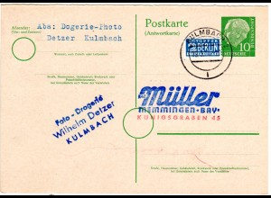 BRD P 28A, 10 Pf. Heuss Antwortteil Ganzsache m Notopfer zurückgebr. v. Kulmbach
