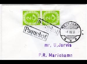 BRD 1956, Paar 2 Pf. Posthorn auf Paquebot Schiffspost Brief v. Island n. Aaland