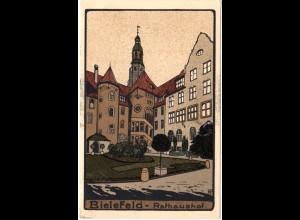 Bielefeld, Rathaushof, ungebr. Steindruck Künstler Farb-AK