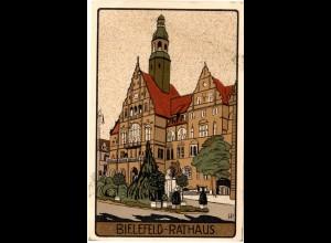 Bielefeld, Rathaus, ungebr. Steindruck Künstler Farb-AK