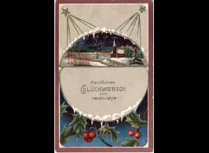 Glückwunsch zum neuen Jahre, 1908 v. Stuttgart gebr. Farb-Präge-AK
