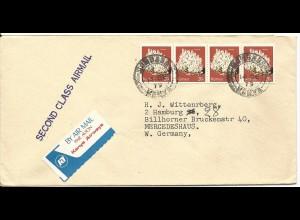 Kenya, MeF 4x20 C. Trona auf Luftpost Brief v. Mombasa.