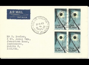Cook Islands 1965, 4er-Block 6d Sonnenfinsternis auf FDC Luftpost Brief