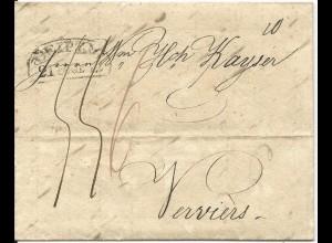 Sachsen 1832, Porto Brief aus Cottbus n. Belgien m. Stpl. LEIPZIG