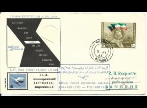 Kuwait 1963, 50 F. auf Flug Brief nach Bangkok Thailand