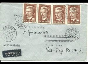 Ungarn, MeF 4x40 F. Petöfi Sandor auf Luftpost Brief v. Budapest n. Deutschland