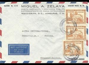 Honduras 1964, MeF 3x0,40 L Archäologie Konferenz auf Luftpost Brief n. Schweden