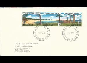 Norfolk Islands 1979, 15+20+30 C. Weihnachtsmarken auf FDC Brief n. Deutschland