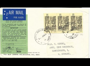Australien 1974, MeF 3x35 C. Weihnachtmarken auf Luftpost Brief n. Deutschland