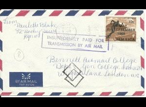 Jamaica 1969, Insufficiently paid for...Air mail auf Brief m. 1 Sh. n. GB