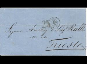 """Griechenland 1868, K2 ATHINAI auf Brief n. Triest m. Österreich Porto Stpl. """"25"""""""