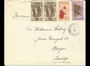 Madagaskar 1938, 4 Marken auf Luftpost Brief v. Tamatave n. Norwegen