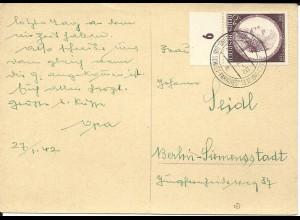 DR 1942, 6 Pf. Mozart auf Karte m. Ostmark Stpl. Ausstellung Das Sowjet Paradies