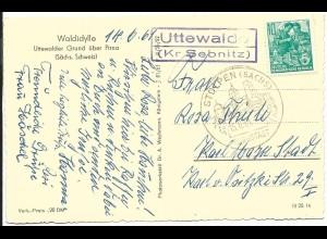 DDR 1961, Landpost Stpl. Uttewalde Kr. Sebnitz auf AK m. 10 Pf.
