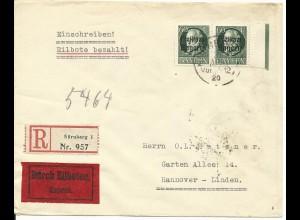 Bayern 162A, Randpaar 60 Pf. auf Eilboten Reko Brief v. Nürnberg n. Hannover.