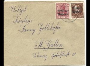 Bayern 1920, 10+50 Pf. auf Brief v. Grafenrheinfeld i.d. Schweiz