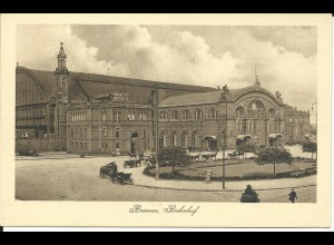 Bremen Hauptbahnhof, ungebr. sw-AK m. Pferdekutschen