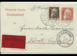 Bayern 1911, 25 Pf. Zusatzfr. auf 10 Pf. Kartenbrief per Eilboten v. Regensburg