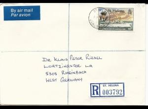 St. Helena, EF 45 P. Schiff HMS Herald auf Einschreiben Brief v. Jamestown