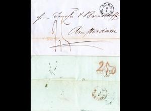 Bremen 1853, K2 ST.P.A. BREMEN auf Porto Brief n. Amsterdam Holland, NL