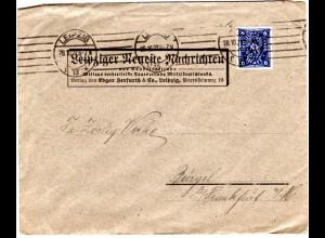 DR 1922, 6 Mk. m. perfin Firmenlochung auf Brief v. Leipzig
