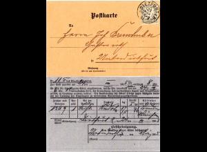 Bayern 1905, EF 2 Pf. auf Orts-Frachtkarte m. K1 DIETFURT a.R. n. Unterdietfurt