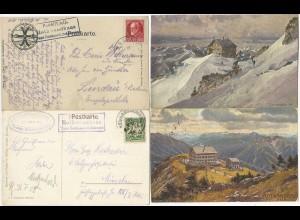 Bayern 1908/18, Posthilfstelle Rothwandhaus hellblau + schwarz auf 2 AK. #1167