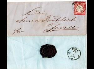 DR 1872, K2 BRAUNSCHWEIG auf Brief m. 1 Gr. kl. Brustschild.