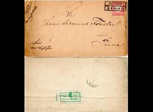 DR 1874, R2 DRESDEN PE No.1 auf Brief m. 1 Gr. gr. Brustschild.