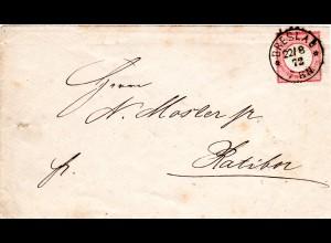 DR 1872, 1 Gr. gr. Brustschild (Farbe!) auf Brief m. klarem K1 BRESLAU