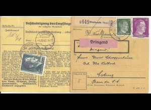 DR 1942, Steinach (Thür), Paketkarte m. DRINGEND Frankatur. #2577