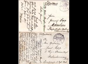 DR 1915, KD Marine Schiffspost Nr. 23 auf 2 Feldpost AK n. Bayern