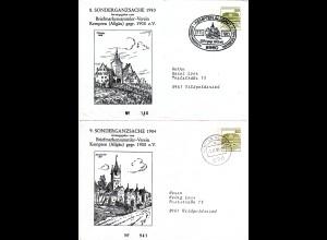 BRD 1983/84, 2 Privatganzsachen Kempten, 8.+9. Sonder-Ganzsache, je gestempelt