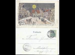 Minden 1902, gebr. Wirtshaus Spaß AK m. Polizist u. Pferde Gespann. #2598
