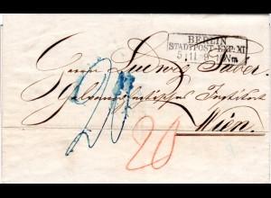 """Preussen 1859, R3 BERLIN StPExp. XI auf Porto Brief (""""20"""" Kreuzer) n Österreich"""