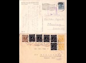 Bayern 1947/48, 2 versch. Lager MOOSBURG Zensuren auf Karte u. Brief Vorderseite