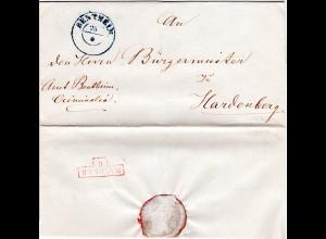 Hannover, K2 BENTHEIM auf Dienst Brief n. Hardenberg, NL. Transit Stpl Hanover O