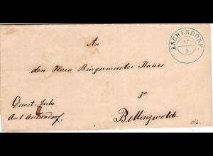 Hannover 1866, K2 ASCHENDORF auf Dienst Brief n. Bellingwolde, NL.