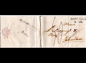 Preussen 1842, L2 COBLENZ auf Porto Brief n. Schiedam, NL.