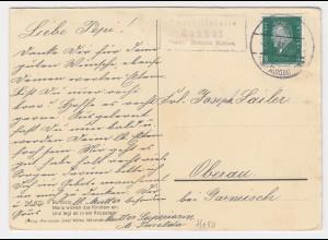 DR 1931, Posthilfstelle Lohof T. Hausen (bei Mindelheim) auf Karte m. 8 Pf #2300