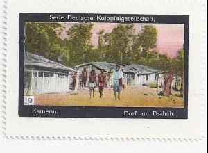 Kamerun, Dorf am Dschah, Sammel Vignette Dt. Kolonialgesellschaft.#1160