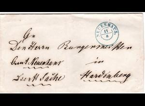 Hannover, K2 NEUENHAUS auf portofreiem Auslands Brief n. Hardenberg, NL.