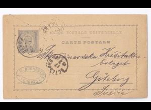 Portugal 1894, Brief Stpl. Porto auf Ganzsache n. Schweden. #658
