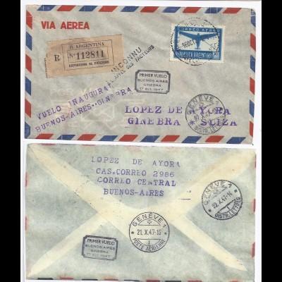 Argentinien Schweiz 1947, Reko Erstflug Brief n. Genf (SLH 200 SFr). #135