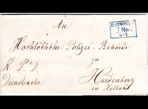 R3 Hannover in blau auf portofreiem Auslands Brief n. Hardenberg, NL