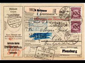DR 1926, 2x100+rs. 40+50 Pf. auf Paketkarte v. Rathenow n. Norwegen