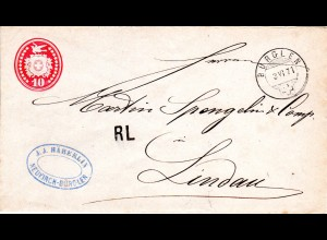 Schweiz 1871, RL (Rayon Limitrophe) auf 10 C. Tübli Brief v. BÜRGLEN n. Bayern.