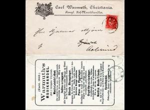 Norwegen 1891, 10 öre auf Reklame Brief C. Warmuth Musik Handel, Christiania