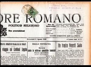 Italien 1928, 25 C. auf kompletter Zeitung m. Bahnpost Stpl. Roma - Milano n. NL