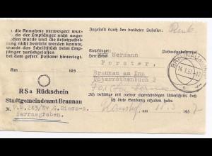 Österreich 1957, Braunau am Inn, interessantes Rückschein Formular. #1414